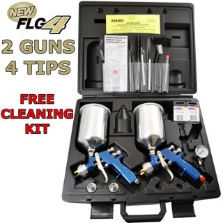 2 Gun DeVilbiss Finishline 4 HVLP Spray Gun Master Kit 1 3 1 5 1 8 2 2 Regulator