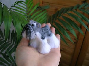 OOAK Hand Needle Felted Miniature Giant Schnauzer Puppy Dog Artist