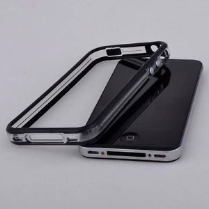Black Clear Bumper Frame TPU Silicone Case Cover w Side Button for iPhone 4 4G