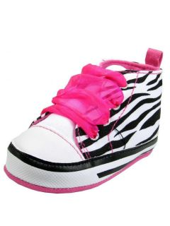 Girls Vitamins Baby Soft Sole Zebra High Top Baby Sneakers with Organza Laces