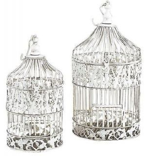 "Benzara White Metal Round Bird Cages Dome Shaped Two Piece Set 22"" 15""H 82677"