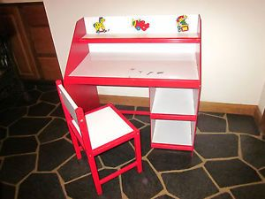 Children's Kids' Toddlers' Computer Play Desk Chair Red White Sturdy Wood Vanity