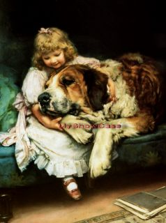 Print Victorian Child Girl St Bernard Pet Dog Playtime