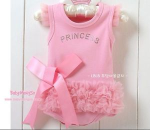 2013 Hot Kids Baby Girls Princess Romper Dress Costume Clothes Outfit 0 6M Pink