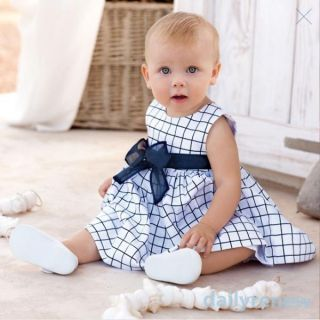 Girls Kids Cotton Top Bow Knot Plaids Dress Outfit Clothes Summer Costume 0 3Y