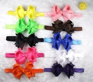 "3 5"" 10 Baby Infant Girl Costume Boutique Hair Bows Flower Silk Headband A2 VGR"