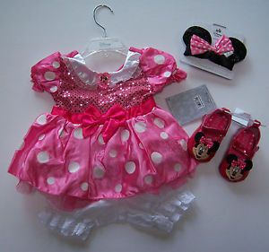 Disney Pink Minnie Mouse Sz 6 12 Baby Costume Dress Ears Headband Shoes