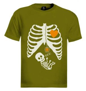 Pregnant Skeleton Halloween Costume T Shirt Boy Girl Baby Maternity Shower Gift