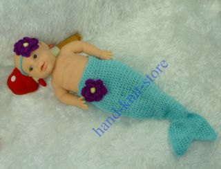 Baby Girl Toddler Infant Mermaid Knitted Costume Set Photo Photography Prop L16