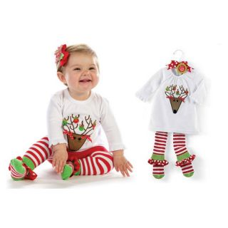 New 2pcs Baby Girl Kids Clothes Costume Reindeer Top Leggings Pants 6M 4T CA42