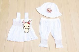 3pcs Baby Girl Kid Ruffle Top Pants Hat Set Outfit Clothes Costume White 0 24M