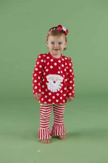 Mud Pie Christmas Baby Infant Girls Santa Tunic Striped Leggings 0M 3T