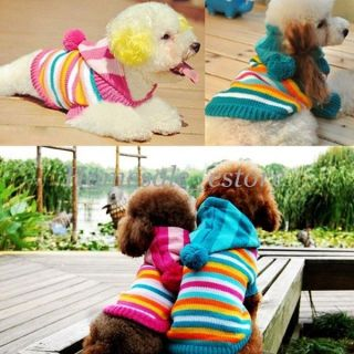 Winter Warm Pet Dog Clothes Stripe Sweater Knitwear Coat Hat Hoodies Apparel