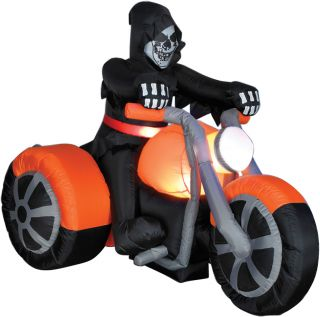 Gemmy Airblown Inflatable Animated Airblown Reaper on 3 Wheeler Halloween Prop