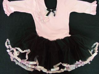 Girl Barbie Party Dance Tutu Dress Mid Sleeve Pink Black Size 4Y to 12y T39