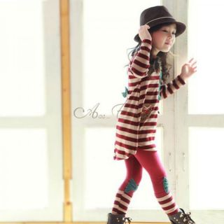 Girl Toddlers Stripe Bowknot Leggings Sz 2 7 Y Kids Cotton Pants Trousers Tights