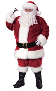 Santa Claus Suit Premium Plush Crimson Adult Mens Costume Christmas Halloween