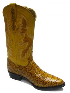 Men's Rustic Yellow Leather Anaconda Snake Cowboy Boots Western Exotic Rodeo