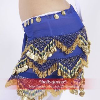 Luxury Belly Dance Costume Hip Scarf Wrap Belt Royal Blue Beads Coins