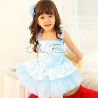 Girl Lace Ballet Dance Dress Skate Tutu Leotard Kid Party Costume Skirt Sz 3 8