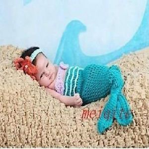 Cute Baby Girl Toddler Infant Mermaid Costume Set Photography Prop