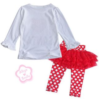 2pc Baby Girl Outfits Polka Dots Infant Tutu Skirt Leggings Pants Xmas Costume