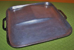 "Vintage Heavy Cast Aluminum Griddle Two Level Camping Cookware Stovetop 12"" Sq"