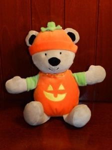 Carters Just One You Halloween Bear Pumpkin Costume Plush Baby 1st Rattle Toy