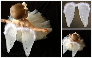 New Child Kid Toddler Baby Girl White Angel Wings Halloween Costume Photo Dress