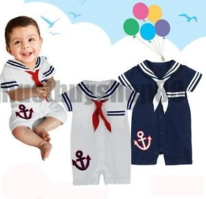 Cute Baby Toddler Boy Sailor Costume One Piece Navy or White 6 24 Months