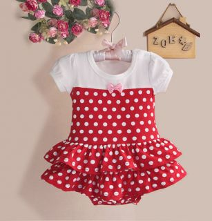 1pc Cotton Baby Girl Toddler Red Polka Dot Romper Jumpsuit Outfit Clothes 9 12M