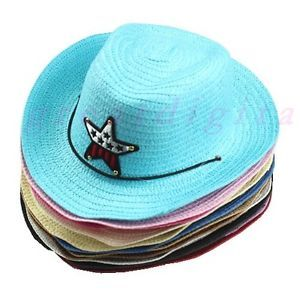 New Cute Baby Kids Children Girls Boys Straw Cowboy Sun Hat Cap Costume