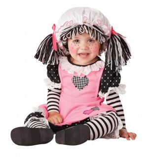 Girls Infant Toddler Goth Rag Baby Doll Raggedy Ann Pink Black Stripes Yarn Hair