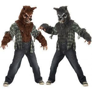Howling at The Moon Costume Kids Werewolf Wolfman Halloween Fancy Dress