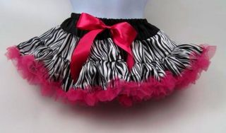 Pettiskirt Zebra with Hot Pink Your Choice of Sizes Small Medium Large