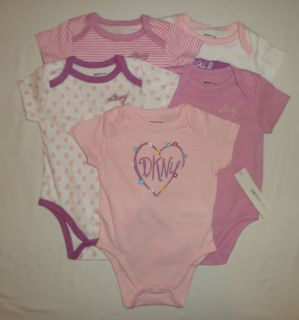 New DKNY Logo Baby Girls Bodysuits Shirts Clothes Lot Set Sz 3 6M 6 Months