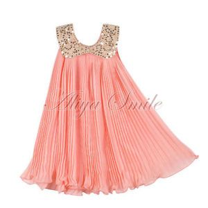 1pc Girls Kids Baby Chiffon Sequin Top Pleated Dresses Outfit Clothes Sz 3T Pink