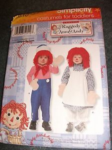 Simplicity Pattern 2510 Toddler Baby Boy Girl Raggedy Ann Andy Costume 1 2 1 2
