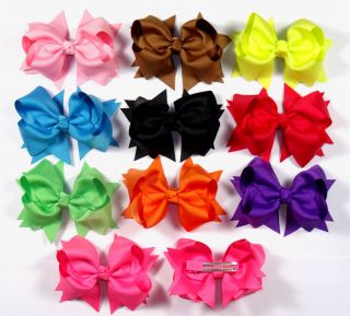 "4"" 10 Pcs Baby Girl Costume Boutique Hair Bows Flowers Clips Flower H1 Nice"