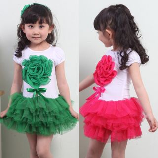Baby Girls Stereoscopic Flower Party Tutu Dress One Piece Skirts Bowknot Costume