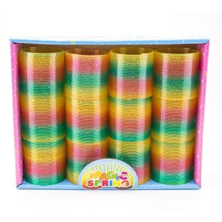 12pk Colorful Rainbow Glitter Plastic Magic Spring Childrens Toy Slinky 2 5""