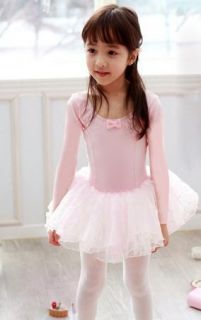 Pink Black Girl Ballet Tutu Dance Costume Long Sleeve Leotard Dress Party Skirt