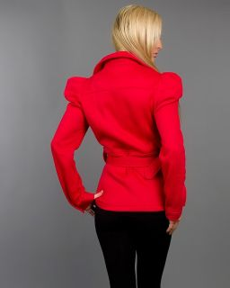 Sexy White or Red Fleece Belted Double Breasted Short Coat Jacket Sanjoy