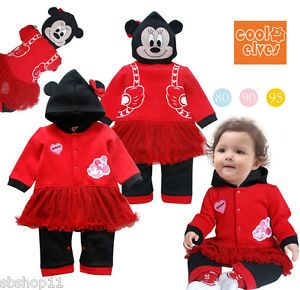 New Baby Infant Girl Disney Minnie Mouse Party Costume Long Sleeves Romper 9 24M