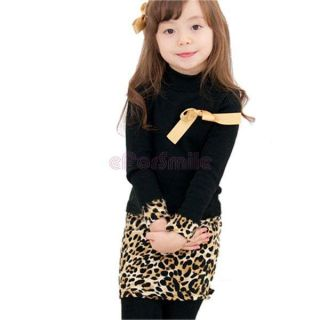 Girl Kids Black Leopard Dress Chest Yellow Bow Long Sleeve Size 2 6 Year Costume