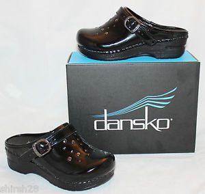 Girls Dansko Jemma Black Patent Leather 28 10 5 11 Toddler Mules Clogs Shoes