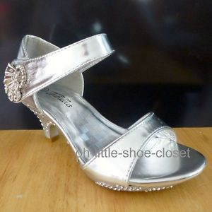 Silver Pageant Crowning Baby Toddler Dress Sandal Shoes Girl Size 9 10 11 12