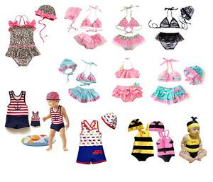 Age 1 8 Baby Kids Boys Girls Swimming Suit Costume 3pcs Binki 2 Pcs Suit w Hat