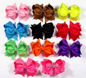 "4"" 10 Lot Baby Infant Girl Costume Boutique Hair Bows Clips Xmas H1 Gojrhff"