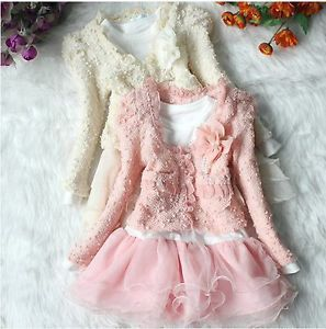 2pcs Toddler Girls Kids Top Jacket Dress Clothes Beige Pink 15 1 5years